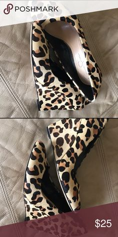 Jessica Simpson calf hair leopard wedges Beautiful shoes!! Great condition! Jessica Simpson Shoes Wedges
