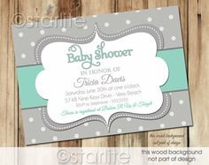 Bold Dots - Baby Mint and Gray Grey - Baby Shower Invitation - gender neutral - boy or girl - PRINTABLE Invitation Design