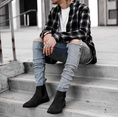 Men s fashion depot mens fashion flannel in 2019 남자 패션, 옷, 남 Stylish Mens Outfits, Casual Outfits, Men Casual, Men's Outfits, Urban Fashion, Mens Fashion, Fashion Menswear, Chelsea Boots Outfit, Moda Formal