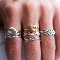 Large River Rock ring with silver and 14k gold bands  Sticks and stones set Wheatgrass ring