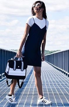 black and white outfit / tee + dress + bag + sneakers