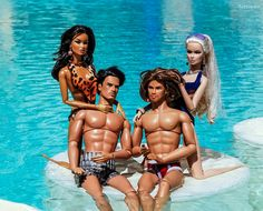 Hot Guy Dolls in the pool.  Eye candy for these Fashion Royalty Babes