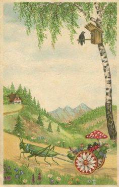 LADYBUGS RIDE COACH WTH GRASSHOPPER AS HORSE OLD postcard