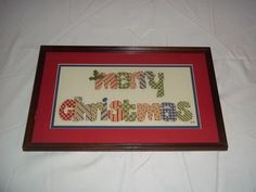 Merry Christmas Completed Cross Stitch Framed and Matted