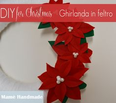 DIY Christmas felt yarn wreath with poinsettia - Tutorial ghirlanda natalizia in lana e feltro con stelle di Natale
