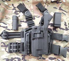 Military Tactical LV3 SERPA XIPHOS Light Bearing HOLSTER SET GLOCK 17 19 22 23 31 32 RH Drop Leg GLOCK holster