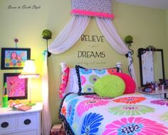 Down To Earth Style: Tween Bedroom. Wall mount candle holders with greenery