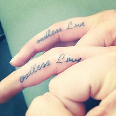 Endless Love Letter Finger Tattoo for Couple | Cool Tattoo Designs