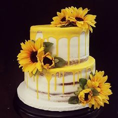 Sunflower Birthday Parties, Sunflower Party, Sunflower Cakes, Sunflower Baby Showers, Beautiful Cakes, Amazing Cakes, Girl Baby Shower Decorations, Drip Cakes, Cute Cakes