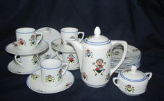 Vintage Children's Tea Set Germany Rudolstadt 40's-50's Golliwogg Stick Figures by trackerjax on Etsy