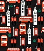 London Bus And Big Ben Pattern Mural - RF Images| Murals Your Way