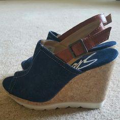 Skechers denim wedge sandals size 6 Gently worn twice. Super cute denim wedge slinback sandals with peek toe. Skechers Shoes Wedges