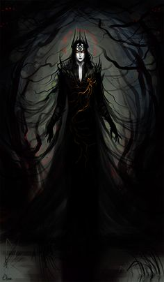 """""""…the evil of Melkor and the blight of his hatred flowed out thence, and the Spring of Arda was marred. Green things fell sick and rotted, and rivers were choked with weeds and slime, and fens were made, rank and poisonous, the breeding place of flies; and forests grew dark and perilous, the haunts of fear; and beasts became monsters of horn and ivory and dyed the earth with blood."""" I imagined this painting better… now it looks shitty B