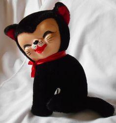 """VINTAGE PLUSH CAT KITTEN BLACK & WHITE RUBBER FACE BEST EVER PET JAPAN 7"""" TALL #BestEverPet"""