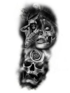 Skull Rose Tattoos, Evil Tattoos, Skull Girl Tattoo, Skull Sleeve Tattoos, Girl Back Tattoos, Skull Tattoo Design, Tattoo Design Drawings, Tattoo Sleeve Designs, Tattoo Sketches