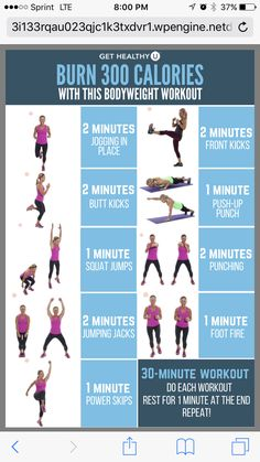 Burn 300 calories in 30 minutes with this workout.