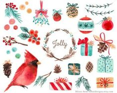 Watercolor Holiday Christmas Clip Art - Tree Branch Balls Ornaments Red Cardinal Gifts Pine Cone Holly Berry Mistletoe Wreath by ReaniDesigns on Etsy Christmas Clipart, Christmas Art, Christmas Holidays, Christmas Patterns, Planner Stickers, Illustration Noel, Art Illustrations, Watercolor Illustration, Pom Poms