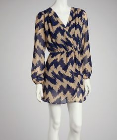 Another great find on #zulily! Blue & Tan Zigzag Tulip Dress by Reborn Collection #zulilyfinds
