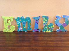 Custom hand painted wooden letters by bARTzy on Etsy, $12.00