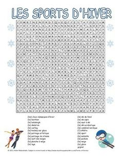 Fun French word search with the winter sports that are a part of major national and international competitions. French Teacher, Teaching French, Winter Words, Hidden Words, Core French, French Classroom, French Words, French Lessons, Learn French