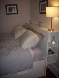 Free-Standing Brimnes Headboard for Renters Love this headboard. and love the modifications to make it so it doesn't have to be attached to the wall- IKEA Hackers: Free-Standing Brimnes Headboard for Renters Ikea Headboard, Queen Headboard, Headboards For Beds, Storage Headboard, Bed Ikea, Headboard With Shelves, Wood Table Legs, Small Room Design, Small Spaces