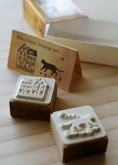 NEW Matchbox Style Stamp Set House and cat by karaku on Etsy, ¥650