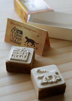 NEW  Matchbox Style Stamp Set  House and cat by karaku on Etsy, ¥650