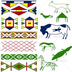 Ancient American Pattern  #GraphicRiver         Vector image of ancient American pattern with animals on white.