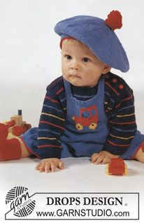 "BabyDROPS 1-5 - DROPS Stripe sweater and knee length pants, socks and hat in ""Safran"". - Free pattern by DROPS Design"
