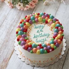 Cake Decorating Techniques, Cake Decorating Tips, Round Birthday Cakes, Buttercream Cake Designs, Simple Cake Designs, Ice Cake, Candy Cakes, Cupcake Cookies, Cupcakes