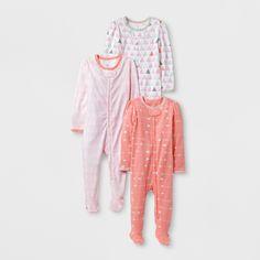 Baby Girls' 3pk Sleep N' Play Set Cloud Island - Pink/Coral 0-3M
