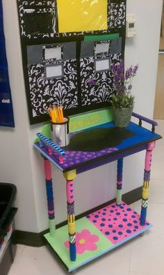 Whimsical painted furniture in my classroom