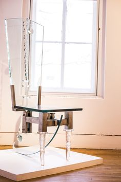 """Chair #13,"" by Maxwell Davis; glass, $12,500. From the Mid-West Furniture Zoku exhibition in the 117 Gallery at the Ann Arbor Art Center."