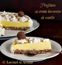 Prajitura cu crema bavareza de vanilie este o prajitura simplu de facut si foarte gustoasa. Are un blat din biscuiti, facut la rece si o crema de vanilie. Creme Caramel, Tart, Cheesecake, Food And Drink, Sweets, Baking, Healthy, Desserts, Recipes