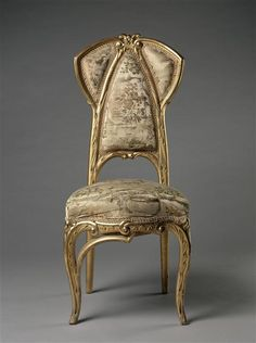 Joan & Jané Busquets  (1874-1949) Furniture Makers - Side Chair. Carved & Gilt Wood with Upholstery Fabric. Circa 1902.