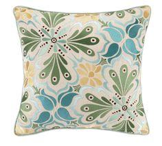 Talaverav I Embroidered Linen Throw Pillow