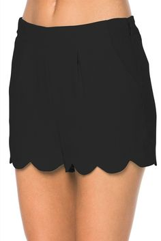 Scallop Hem Shorts in Black