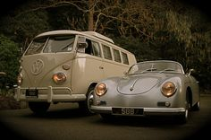 My dream combination of old cars  VW Microbus & Porsche 356