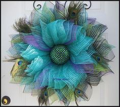 Peacock Deco Mesh Flower Wreath Summer Wreath Peacock