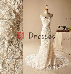 Sweetheart sleeveless floor-length mermaid lace zipper back wedding dress
