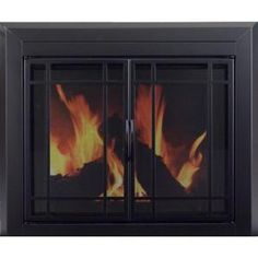 Pleasant Hearth Easton Small Glass Fireplace Doors-EA-5010 at The Home Depot
