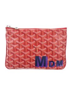 Red and multicolor hand-painted Goyardine coated canvas Goyard Senat PM  with silver-tone 846e2881cb