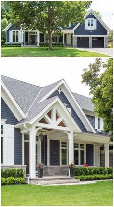 20 Ideas For Exterior House Colors White Shutters Front Porches House Paint Exterior, Exterior Paint Colors, Exterior Siding, Exterior House Colors, Paint Colors For Home, Exterior Design, Wall Exterior, Siding Colors, Grey Exterior