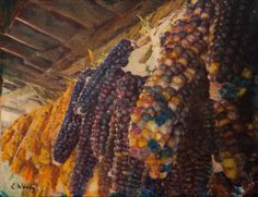 """Native Corn Offerings. Mixed media on canvas, 11"""" x 14""""."""
