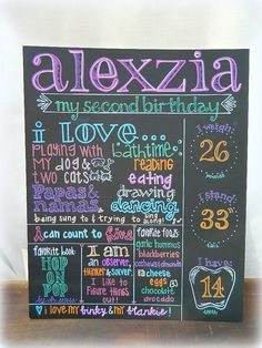 Hand Painted Birthday Chalkboard Sign - a cool DIY idea. Or just buy from this person at $55.00.  great idea!