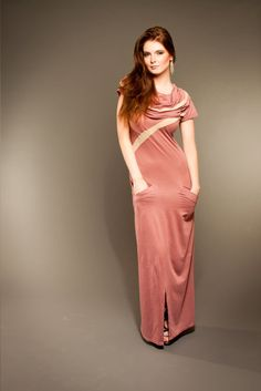 Organic Cotton Maxi Dress with Hood by SinuousByEmily on Etsy, $120.00 pink dresses hoods pretty