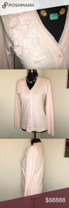 🍁 JUST IN  🍁 IZOD Blush Embellished Knit Cardi Super soft IZOD knit cardigan. Pale pink embellished with fabric flowers. Smoke free. Bundle for additional discount. 😊🛍 Izod Tops