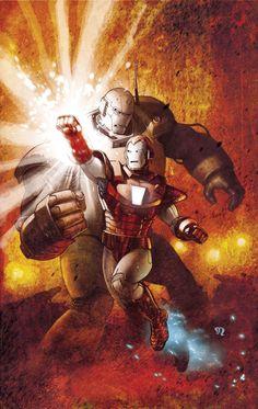 """Iron Man Vs The Iron Monger // artwork by Stephane Roux Variant Cover for """"Avengers Assamble Marvel Comics Art, Marvel Comic Books, Marvel Heroes, Comic Books Art, Comic Art, Heroes Comic, Book Art, Captain Marvel, Marvel Avengers"""