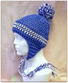 AG Handmades free crochet pattern: Basic Hat with instructions for modifying into a beanie, earflap hat, bobble hat, winter hat, slouchy hat; embellishing with bow, flower, corkscrew, or braided ties, sized from newborn through adult