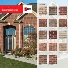 Our most diverse color offering! Crossroads clay bricks, with their rugged, tumbled appearance, and a full palette of rich tones and textures, accentuate any commercial or residential building design. Residential Building Design, Front Doors, Bricks, Basement, Commercial, New Homes, Palette, Clay, Exterior